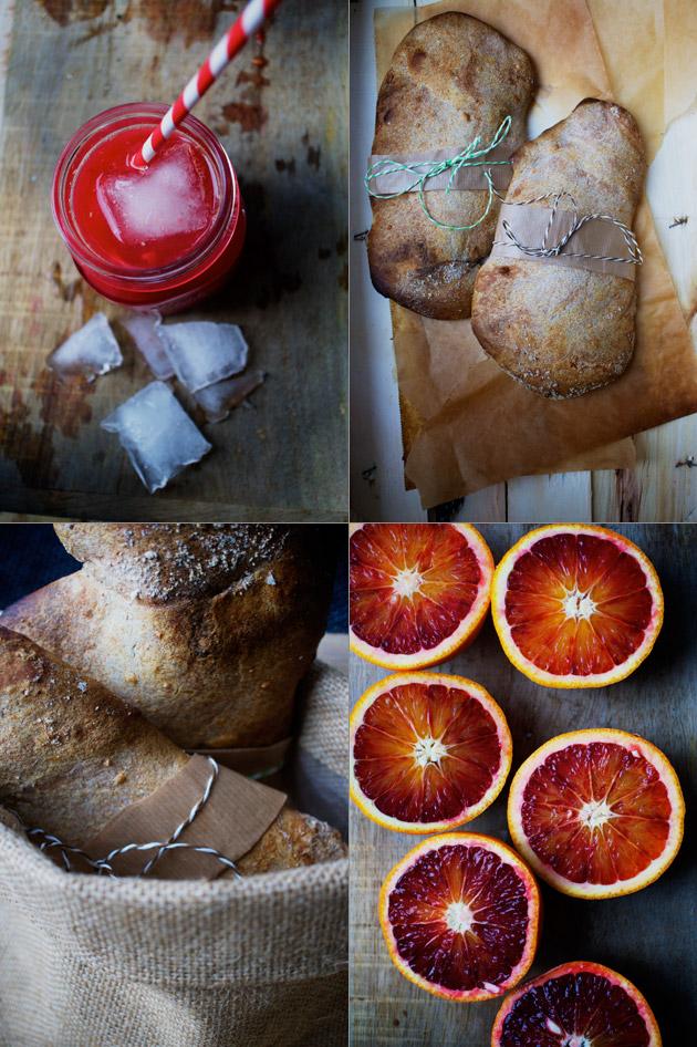 blodappelsin og brød i kurv