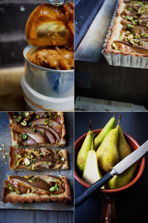 karamel, pærer og tærte