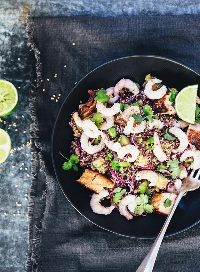 Mættende Salat Med Laks Rejer The Food Club